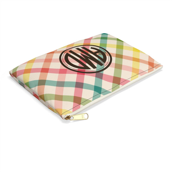 Personalized Spring Plaid Accessory Pouch