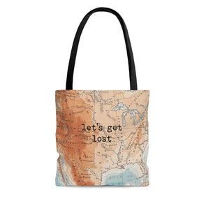 Vintage Map Let's Get Lost Tote Bag
