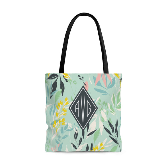 Personalized Spring Floral Tote Bag