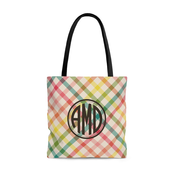 Personalized Spring Plaid Tote Bag