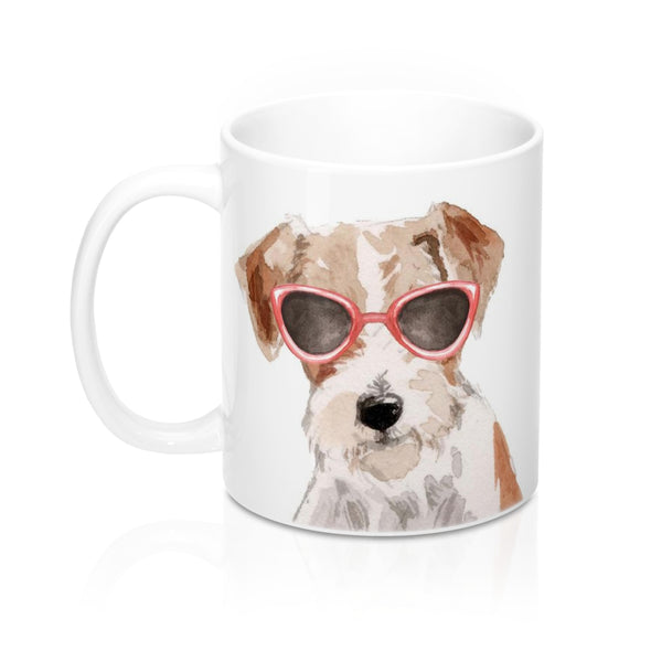 Jack Russell Terrier in Sunglasses Ceramic Mug, 11 oz