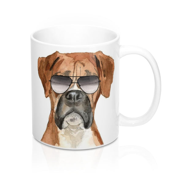 Cool Boxer in Aviators Coffee Mugs, 11 oz