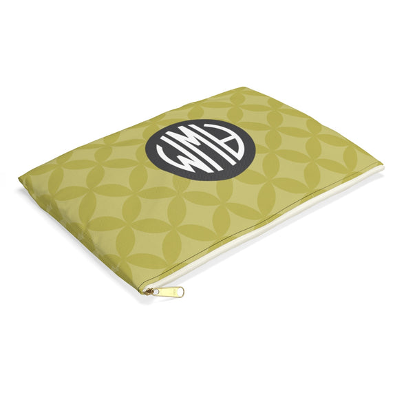 Monogrammed Circle Pattern Accessory Pouch, Green