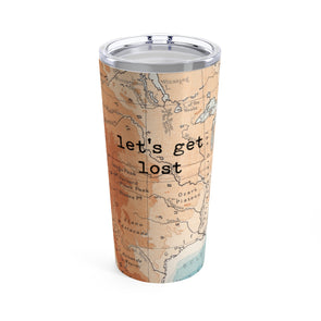 Retro Let's Get Lost Drink Tumbler, 20 oz.