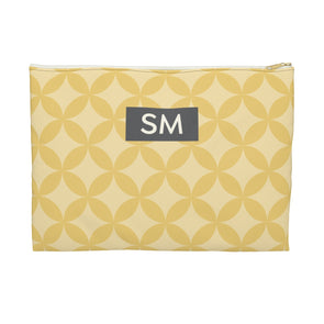 Personalized Circle Pattern Accessory Pouch, Golden Yellow