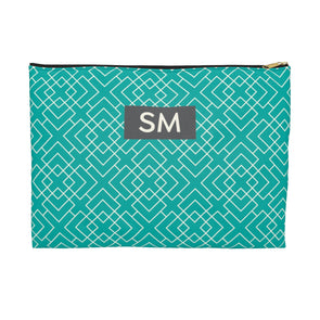 Personalized Pattern Accessory Pouch, Teal