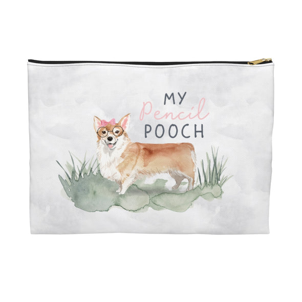 Corgi with a Pink Bow Pencil Pouch