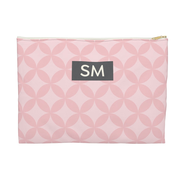 Personalized Circle Pattern Accessory Pouch, Pink