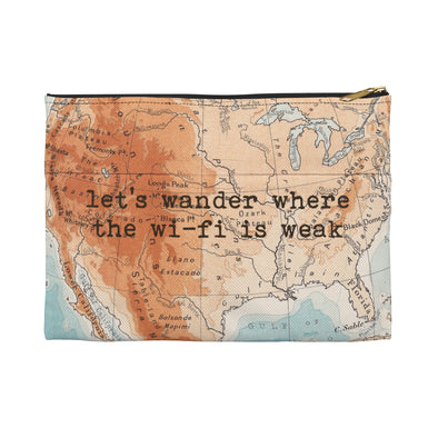 Retro Print Let's Wander Travel Pouch