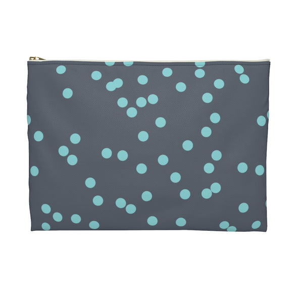 Messy Polka Dot Accessory Pouch, Blue