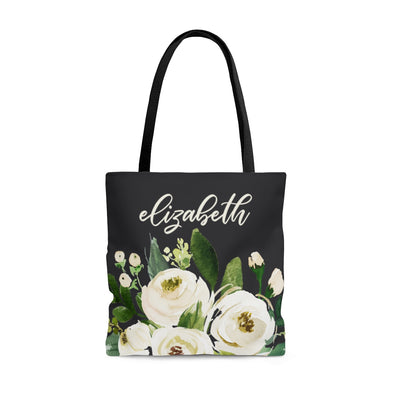Personalized White Flower Tote Bag
