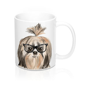 Shih tzu with Glasses Ceramic Mug, 11 oz