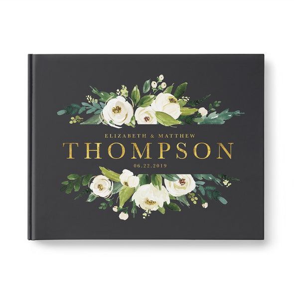 Personalized Floral Wedding Guest Book with Charcoal Gray Cover and Gold Foil Custom Photo Booth Guestbook GB237