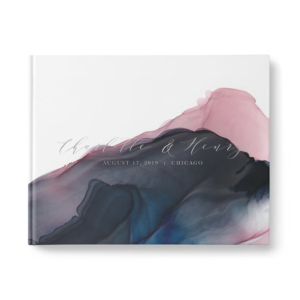 Wedding Guest Book with Foil Accents and Stunning Navy and Pink Watercolor Wash Personalized Photobooth GB248