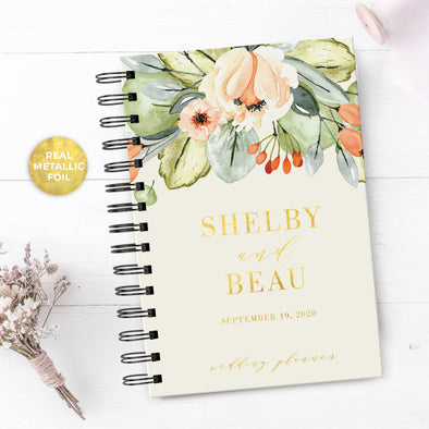 Navy & Coral Floral Wedding Planner