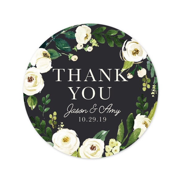 Wedding Favor Stickers Featuring Beautiful White Roses