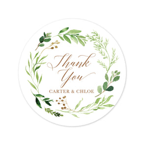 Wedding Favor Stickers with a Rustic Greenery Wreath