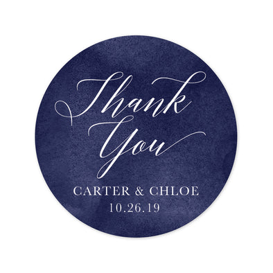 Classic Wedding Favor Labels with a Rich Navy Background
