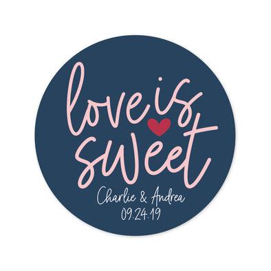 Sweet Navy and Blush Wedding Favor Stickers