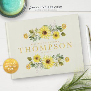Sunflower Wedding Guest Book with Gold Foil