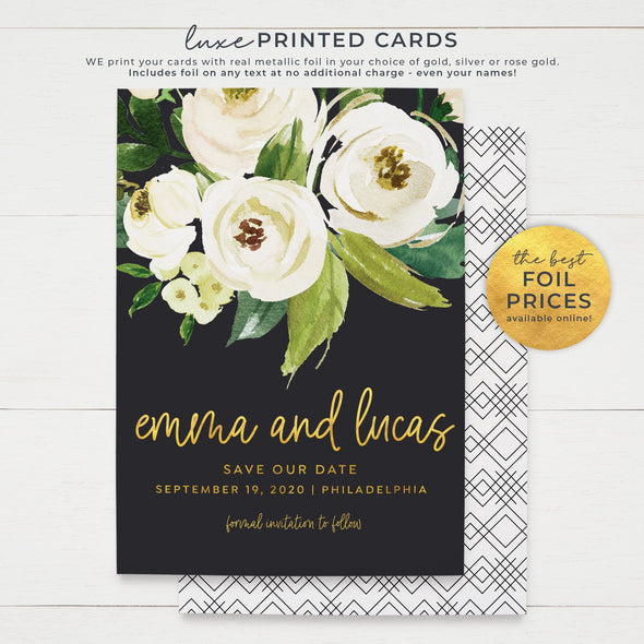 Save the Date Cards with Real Metallic Foil Print