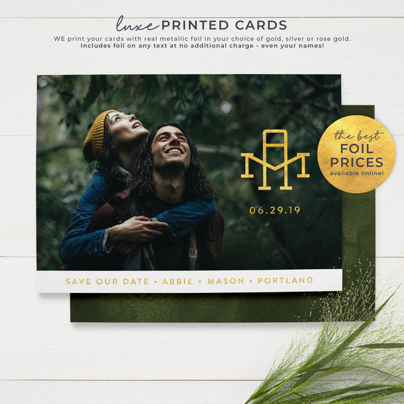 Monogram Photo Save the Date Cards