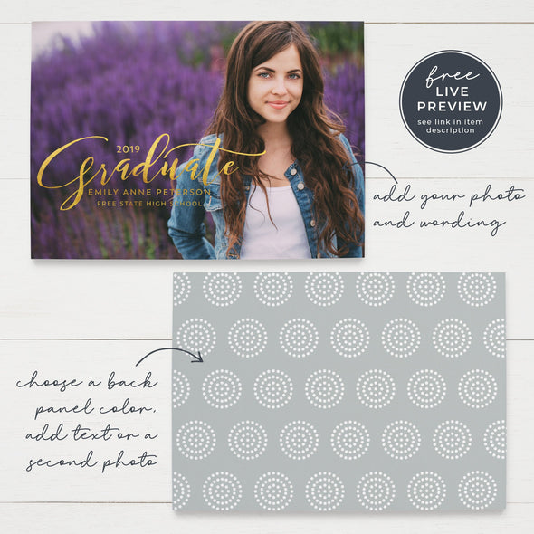 Pretty Script Graduation Announcement