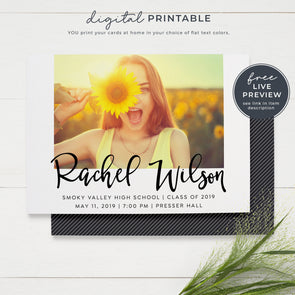 Fun Script Printable Graduation Announcement