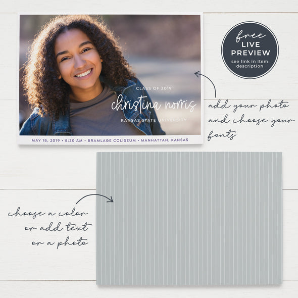 Simple Script Printable Graduation Announcement