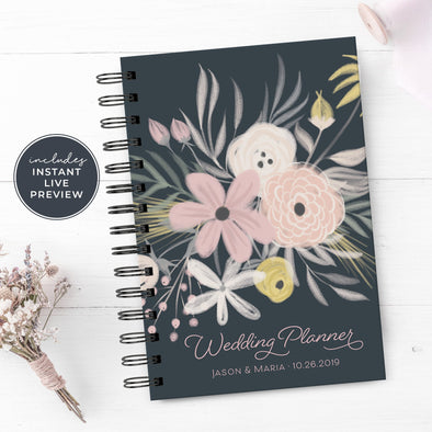 Floral Wedding Planner with Silver Foil