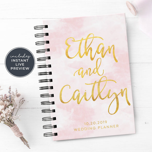 Pink Wedding Planner with Metallic Gold Foil