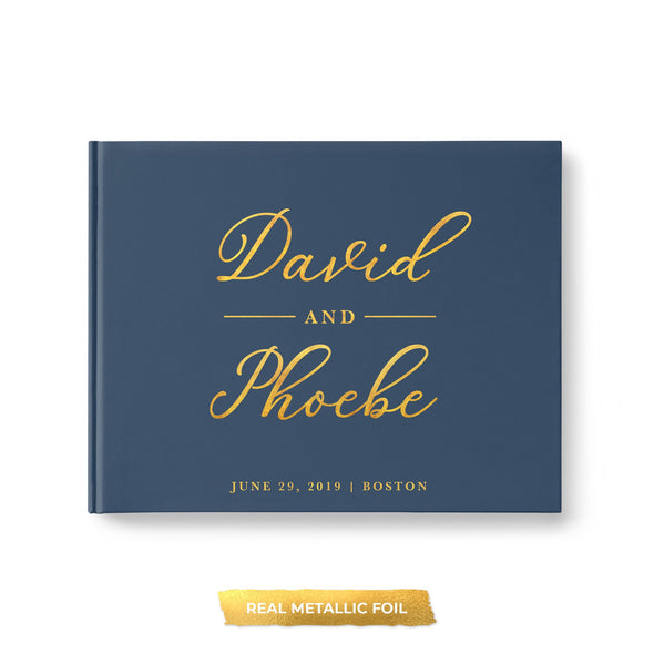 Wedding Guest Book with Your Choice of Cover Colors Personalized with Real Metallic Gold Foil
