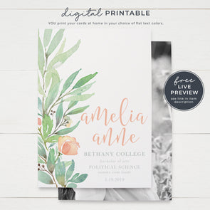 Pretty Watercolor Graduation Announcement