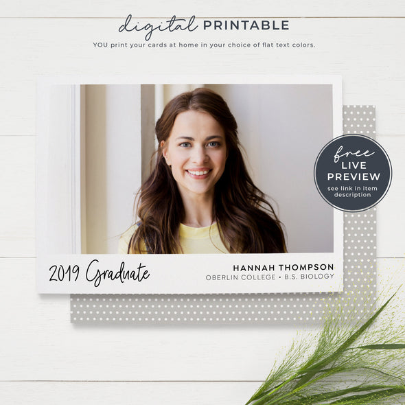 Printable Simple Photo Graduation Announcement