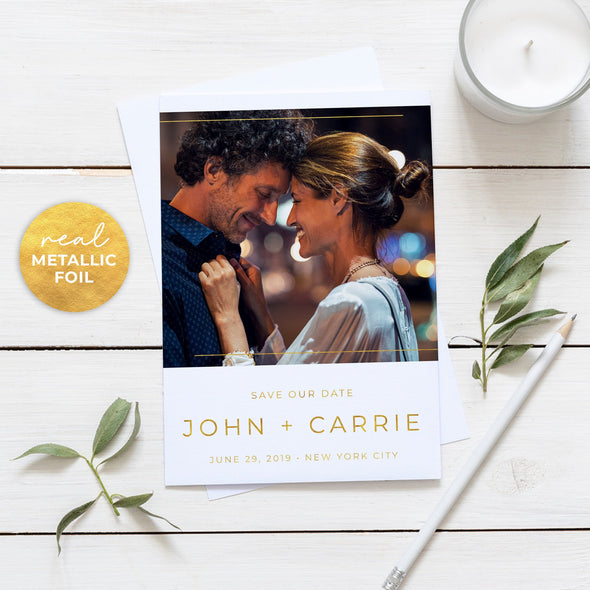 Gorgeous Save the Date Cards with Real Metallic Foil Print
