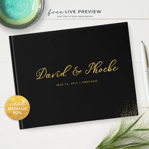 Black Wedding Guest Book Personalized with Real Metallic Gold Foil