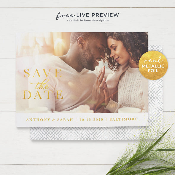 Stately Save the Date Cards with Real Metallic Foil Print