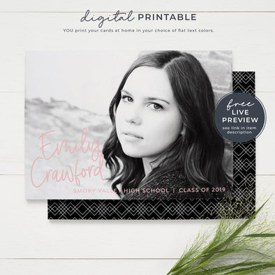 Printable Modern Graduation Announcement