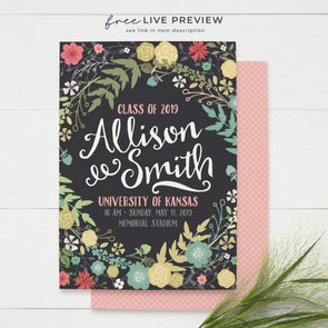 Graduation Announcements High School Graduation College Graduation Invitation Spring Floral Rustic Fun Script Font Modern Class of 2019 Grad