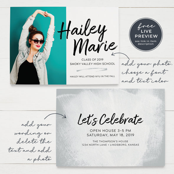 Printable Brush Script Graduation Announcement