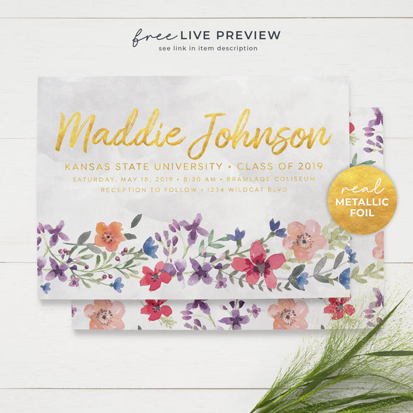 Spring Watercolor Foil Graduation Announcement