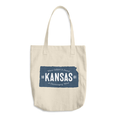 Rustic State of Kansas Cotton Tote Bag