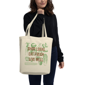Farmers Market Tote Bag, Eco-Friendly 100% Organic Cotton