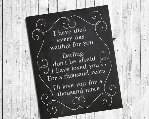 A THOUSAND YEARS 8x10 Faux Chalkboard Background Print - Christina Perri, Twilight Song Lyrics - J & S Graphics