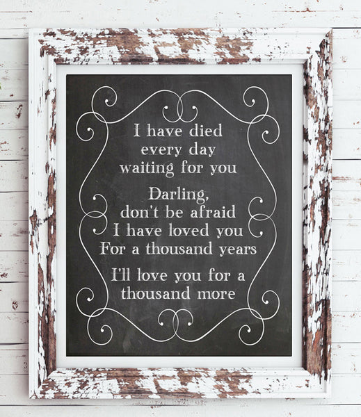 A THOUSAND YEARS 8x10 Faux Chalkboard Background Print - Christina Perri, Twilight Song Lyrics - NO FRAME - J & S Graphics