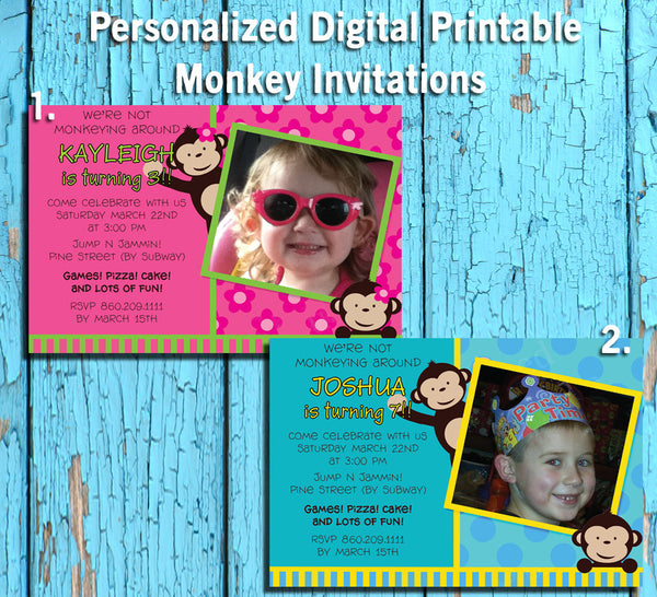 Printable Cute MONKEY Theme Photo Birthday Party Invitation, Personalized DIGITAL FILE - J & S Graphics