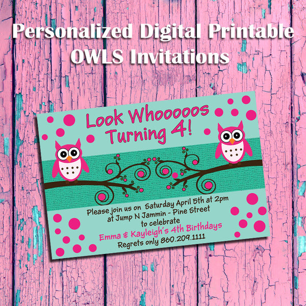 Printable OWL Theme Birthday Party Invitation - Personalized DIGITAL FILE - J & S Graphics