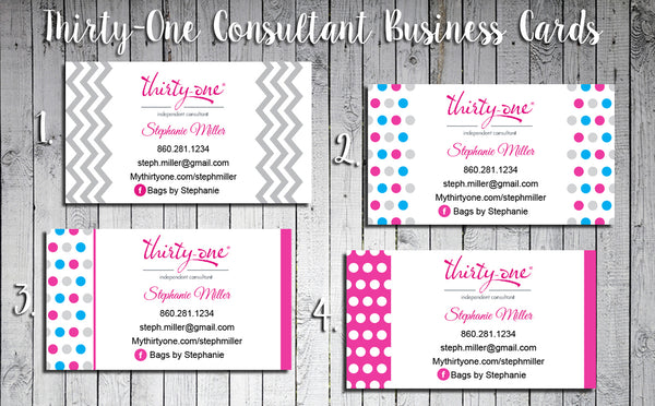 Thirty-One Consultant Business Cards - Personalized and Printed