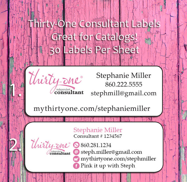 personalized thirty one consultant catalog address labels 30 return