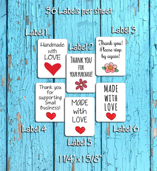 Order Packaging Thank You for Your Business Labels, 36 labels per sheet - J & S Graphics